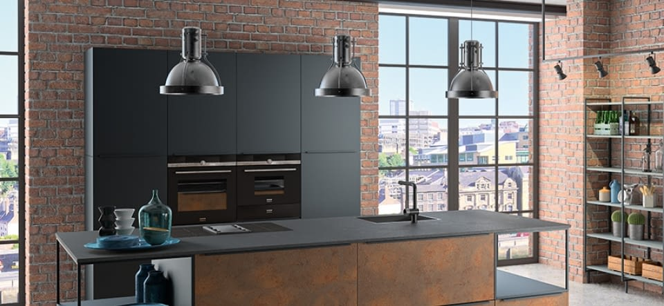 inselk che legno eiche marone mit oro preto und sabbia beige. Black Bedroom Furniture Sets. Home Design Ideas