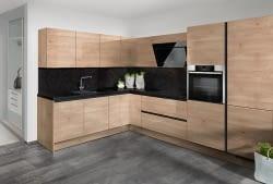 Grifflose L-Küche mit Elektrogeräten von Neff und Naturstein ...