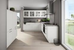 Helle Landhausküche In L Form Mit Granit Arbeitsplatte Marquardt