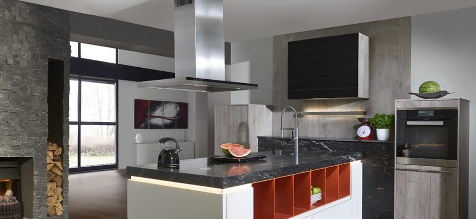 moderne inselk che artwood asteiche natur und stone basalt mit black cosmic marquardt k chen. Black Bedroom Furniture Sets. Home Design Ideas