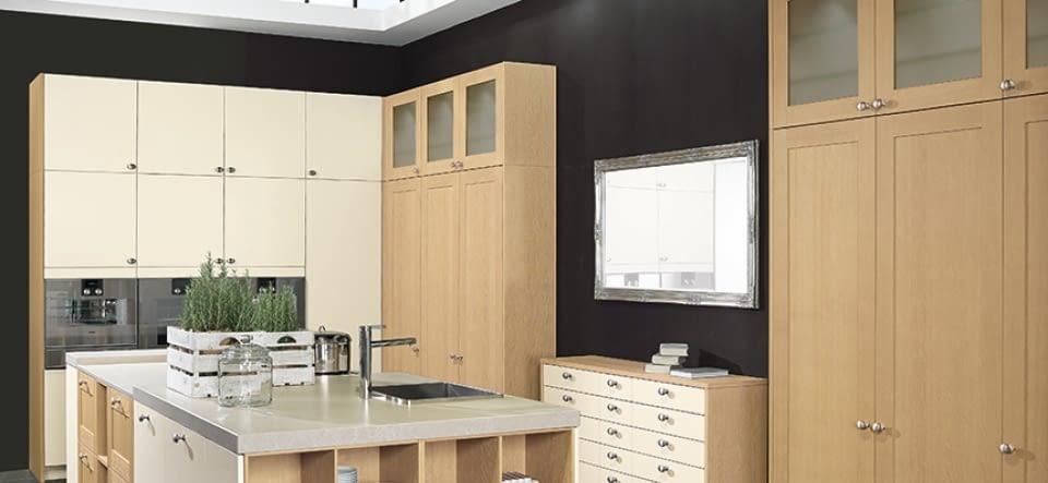 landhaus inselk che vienna oak und blaubeere marquardt k chen. Black Bedroom Furniture Sets. Home Design Ideas
