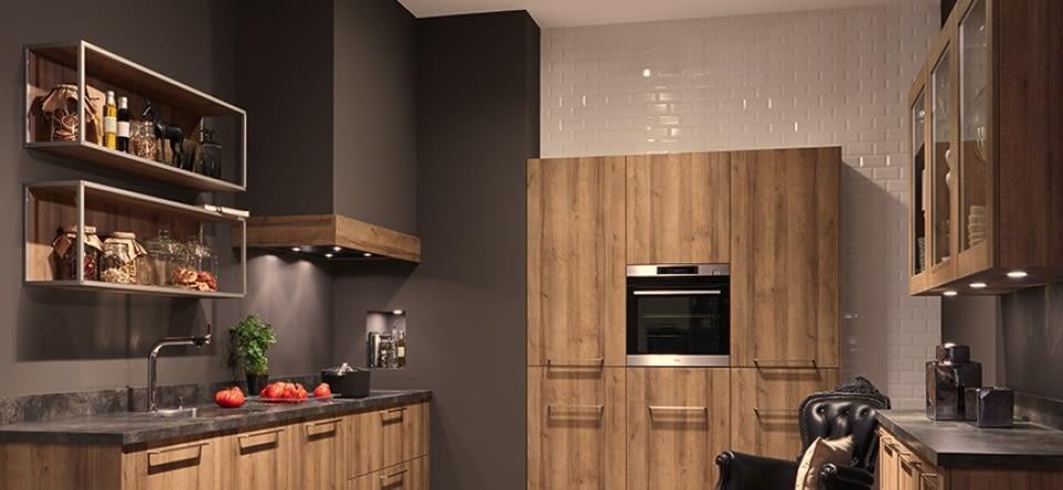 Landhausküche u küche denver eiche mit breccia imperiale granitstein