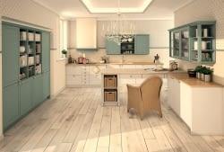 Küche blau grau  U-Küche Mattlack Arctisweiß/Blaugrau - Marquardt Küchen