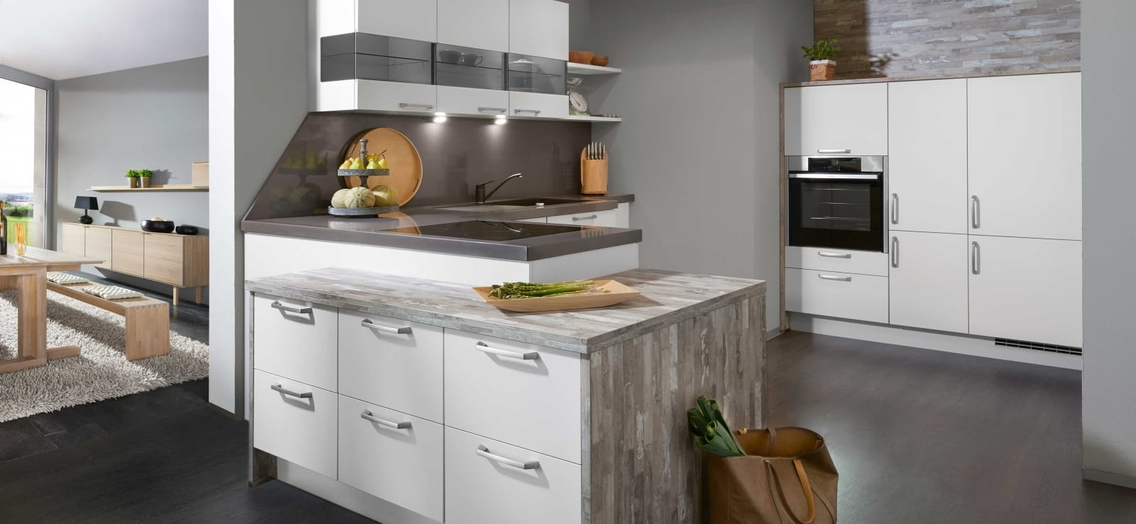 klassische l k che laser seidengrau mit gris anthacita. Black Bedroom Furniture Sets. Home Design Ideas