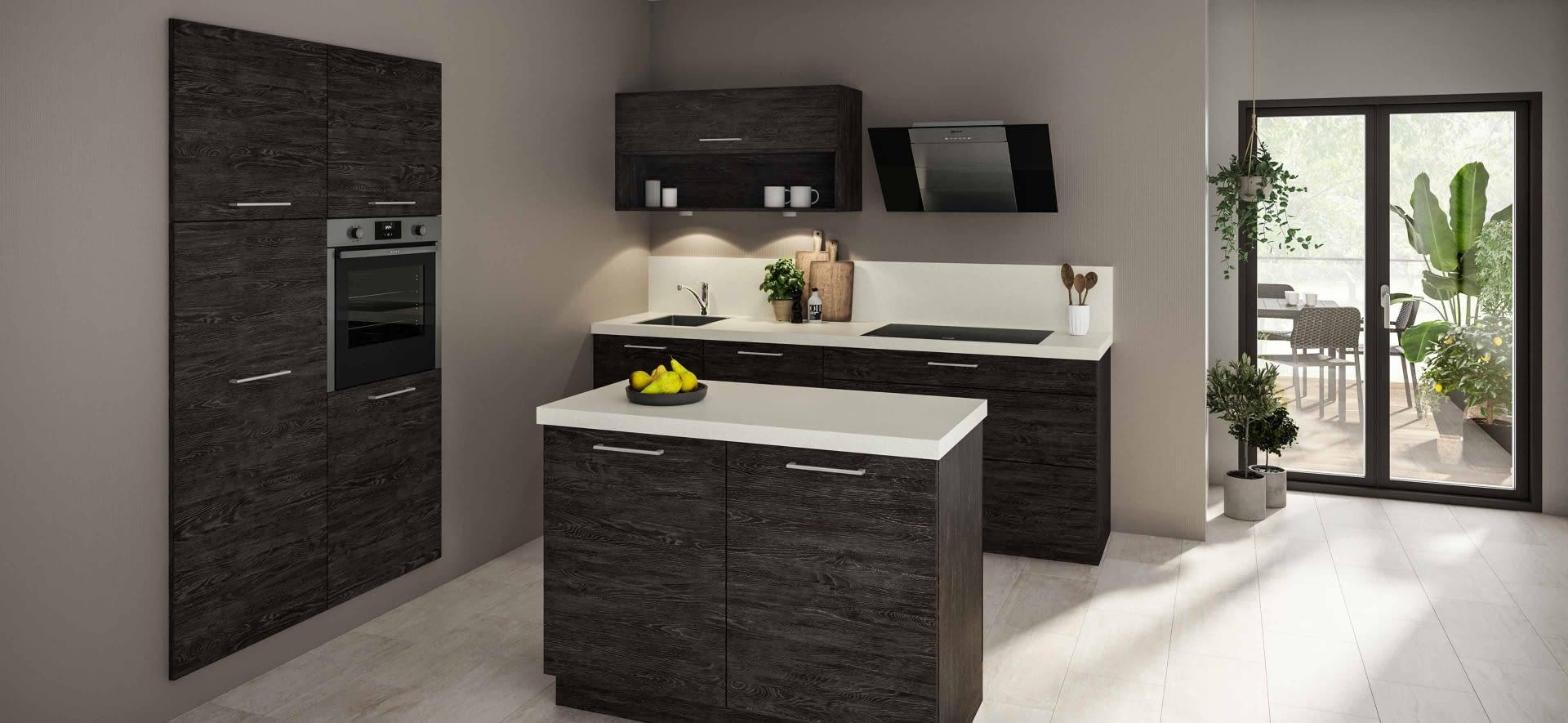 klassische k chenzeile mit quarzstein arbeitsplatte marquardt k chen. Black Bedroom Furniture Sets. Home Design Ideas