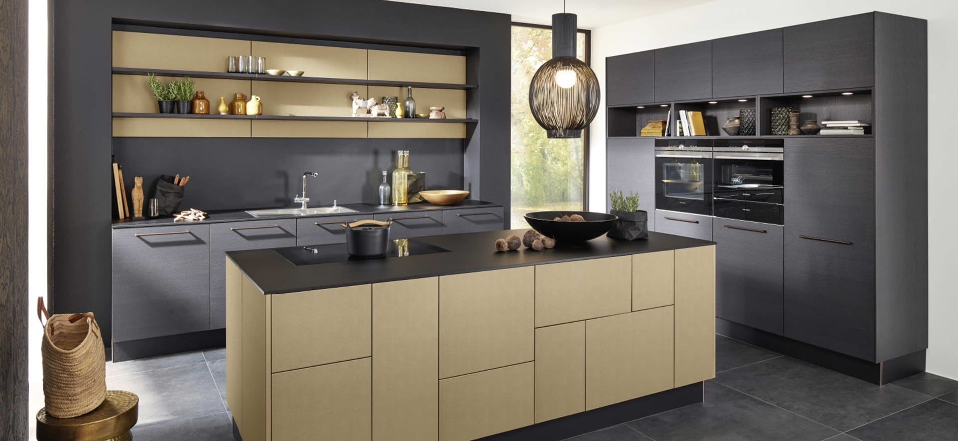 designk che mit lederoptik inkagold front und terra molino marquardt k chen. Black Bedroom Furniture Sets. Home Design Ideas