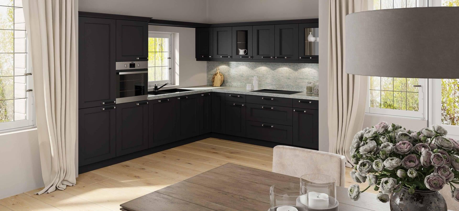 Stilvolle Landhausküche In L Form Mit Granitarbeitsplatte