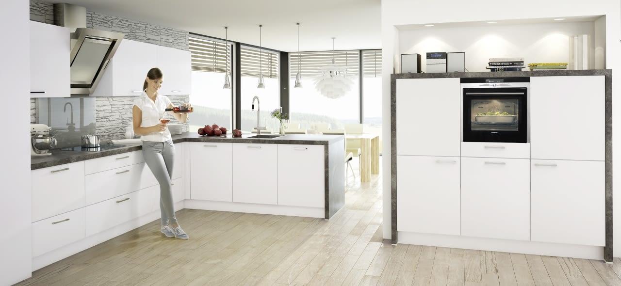 L-Küche Touch Weiß Softmatt mit Virginia Black