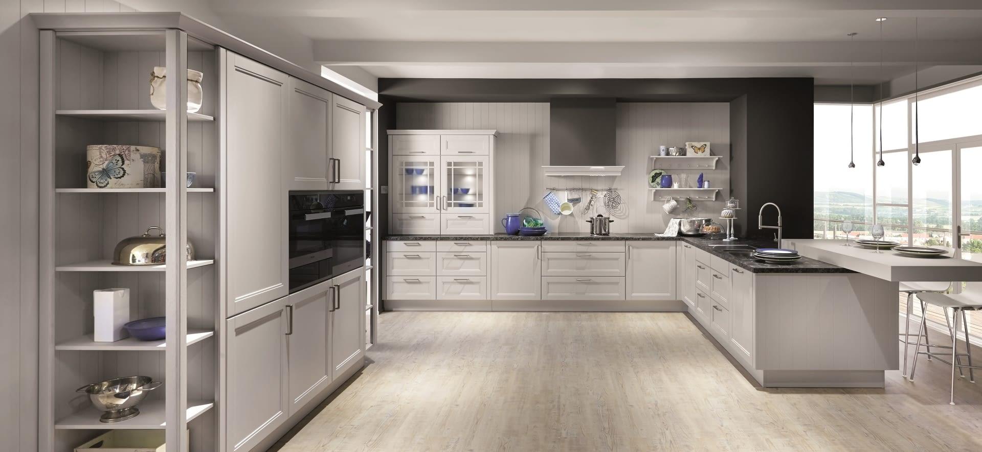 u k che landhaus york echtholz seidengrau mit steel grey. Black Bedroom Furniture Sets. Home Design Ideas