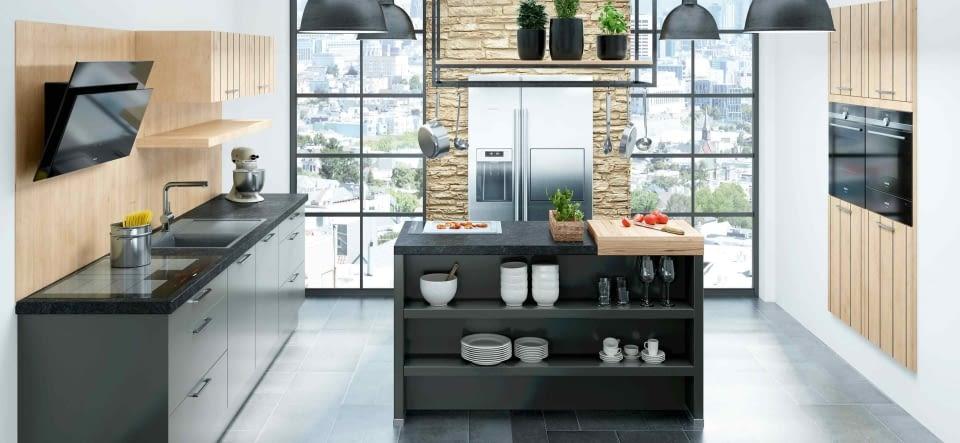 Moderne inselküche im industrial design